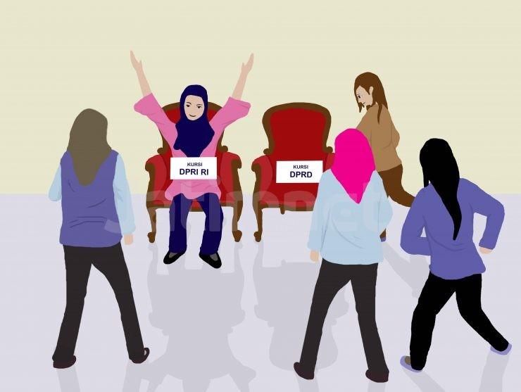 Ilustrasi Bacaleg perempuan - nalar.id
